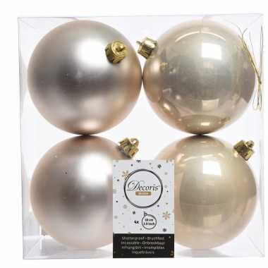 4x champagne kerstversiering kerstballen kunststof 10 cm