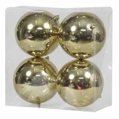 4x gouden kerstballen 12 cm glanzende kunststof/plastic kerstversiering