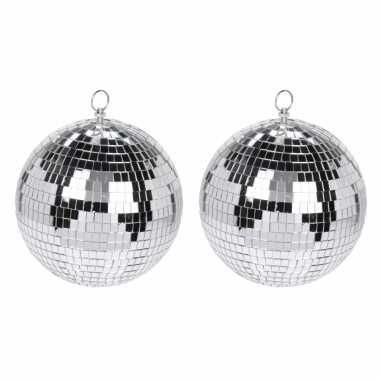 4x grote zilveren disco kerstballen discoballen/discobollen glas/foam 15 cm