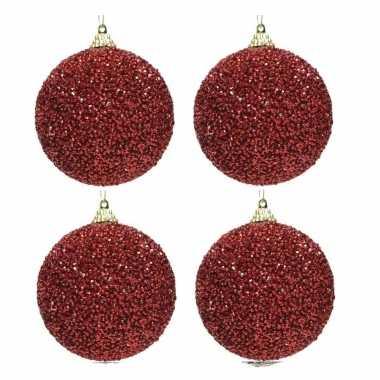 4x kerst rode kerstballen 8 cm glitters/kraaltjes kunststof kerstversiering