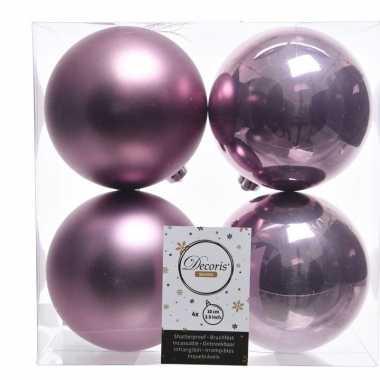 4x lila paarse kerstversiering kerstballen kunststof 10 cm
