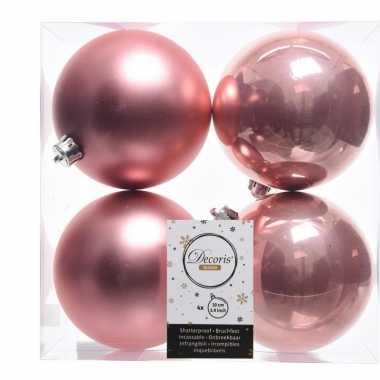 4x oud roze kerstversiering kerstballen kunststof 10 cm