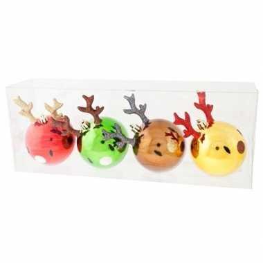 4x rendier kerstballen 8 cm