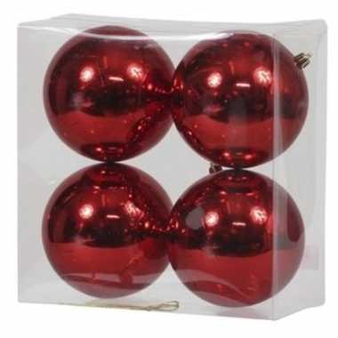 4x rode kerstballen 12 cm glanzende kunststof/plastic kerstversiering