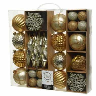 50x gouden kerstballen 4-8-15 cm glanzende/glitter kunststof/plastic kerstversiering