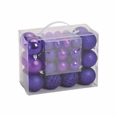 50x paarse kunststof kerstballen 3, 4 en 6 cm