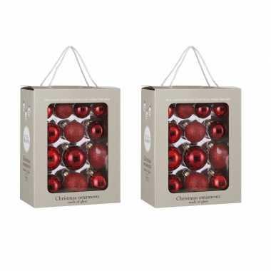 52x glazen kerstballen rood 5-6-7 cm mat/glans