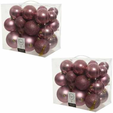 52x oud roze kerstballen 6-8-10 cm kunststof mix