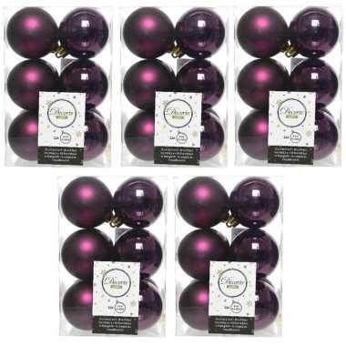 60x aubergine paarse kerstballen 6 cm glanzende/matte kunststof/plastic kerstversiering