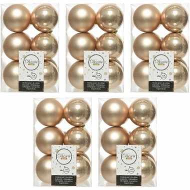 60x donker parel/champagne kerstballen 6 cm glanzende/matte kunststof/plastic kerstversiering