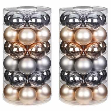 60x glowing mountains mix zilver/champagne glazen kerstballen 6 cm