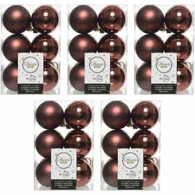 60x mahonie bruine kerstballen 6 cm glanzende/matte kunststof/plastic kerstversiering