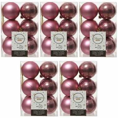60x oud roze kerstballen 6 cm glanzende/matte kunststof/plastic kerstversiering