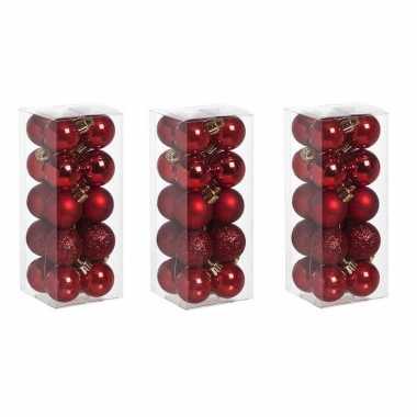 60x stuks kleine kunststof kerstballen rood 3 cm mat/glans/glitter