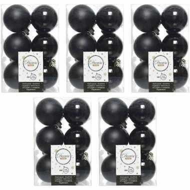 60x zwarte kerstballen 6 cm glanzende/matte kunststof/plastic kerstversiering