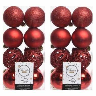 64x kerst rode kerstballen 6 cm glanzende/matte/glitter kunststof/plastic kerstversiering