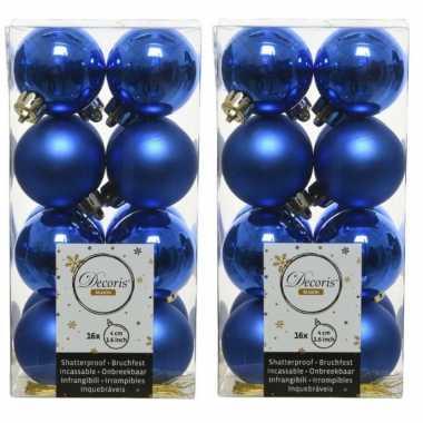 64x kobalt blauwe kleine kerstballen 4 cm kunststof mat/glans