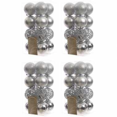 64x zilveren kerstballen 6 cm glanzende/matte/glitter kunststof/plastic kerstversiering