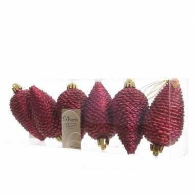6x donkerrode kerstballen 8 cm glitter kunststof/plastic kerstversier