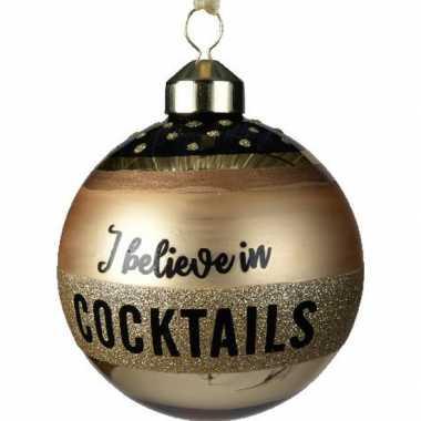 6x gouden glazen kerstballen i believe in cocktails 8 cm