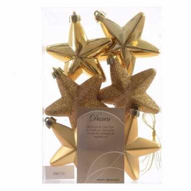 6x gouden kerstballen 7 cm glanzend/matte/glitter kunststof/plastic k