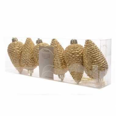 6x gouden kerstballen 8 cm glitter kunststof/plastic kerstversiering