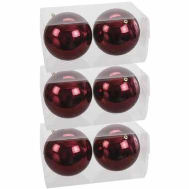 6x grote kunststof kerstballen bordeaux rood 15 cm