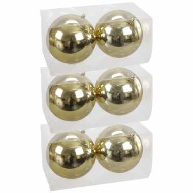 6x grote kunststof kerstballen goud 15 cm