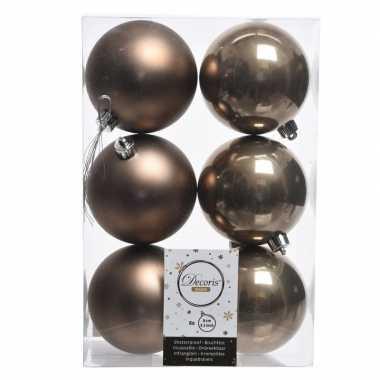 6x kasjmier bruine kerstballen 8 cm glanzende/matte kunststof/plastic