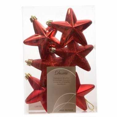 6x kerst rode kerstballen 7 cm glanzend/matte/glitter kunststof/plast