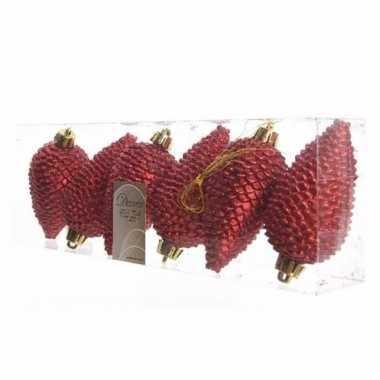 6x kerst rode kerstballen 8 cm glitter kunststof/plastic kerstversier