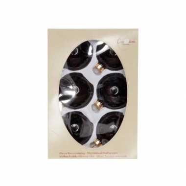6x kerstballen zwart 7 cm