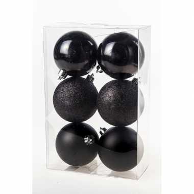 6x kerstballen zwart 8cm