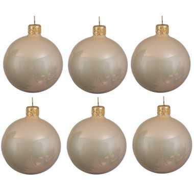 6x licht parel/champagne kerstballen 6 cm glanzende glas kerstversiering