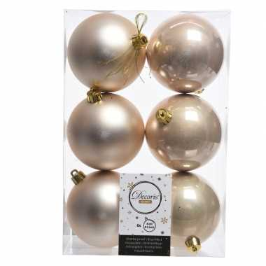 6x licht parel/champagne kerstballen 8 cm glanzende/matte kunststof/p