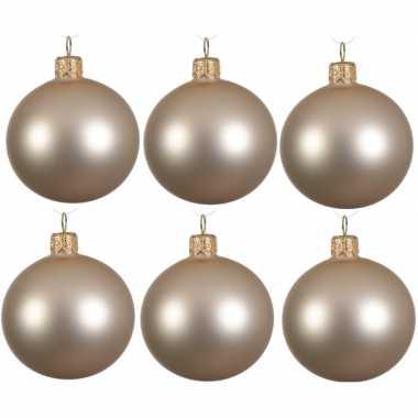 6x licht parel/champagne kerstballen 8 cm matte glas kerstversiering