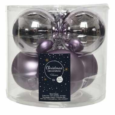 6x lila paarse glazen kerstballen 8 cm glans en mat