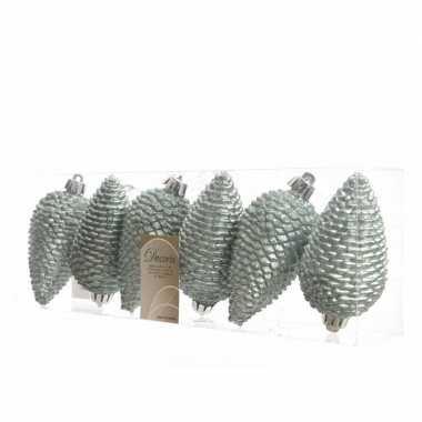 6x mintgroene kerstballen 8 cm glitter kunststof/plastic kerstversier