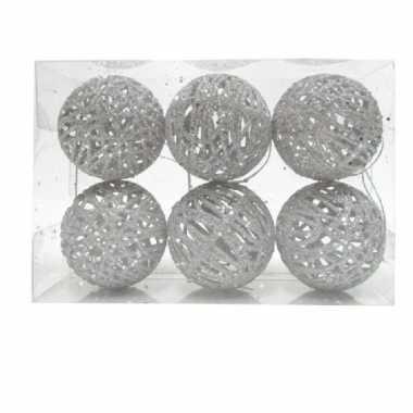 6x rotan kerstballen zilver met glitters 5 cm kerstboomversiering
