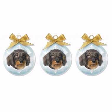 6x stuks dieren/huisdieren kerstballen teckel hond 8 cm