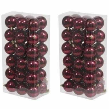 72x bordeaux rode kerstballen 6 cm glanzende kunststof/plastic kerstversiering