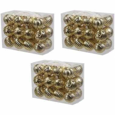 72x gouden kerstballen 6 cm kunststof/plastic kerstversiering