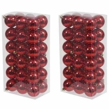 72x rode kerstballen 6 cm glanzende kunststof/plastic kerstversiering