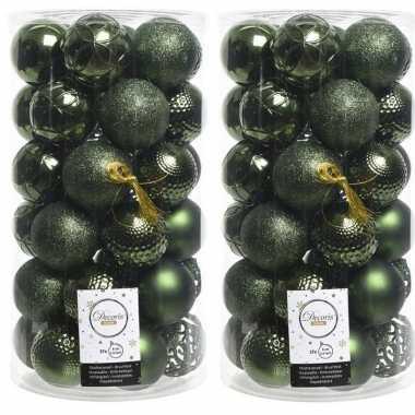 74x donkergroene kerstballen 6 cm glanzende/matte/glitter kunststof/plastic kerstversiering