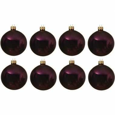 8x aubergine paarse kerstballen 10 cm glanzende glas kerstversiering