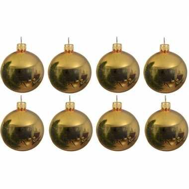 8x gouden kerstballen 10 cm glanzende glas kerstversiering