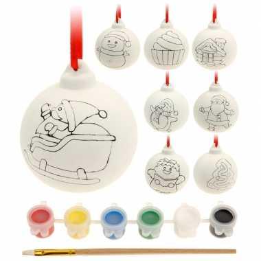 8x kerstballen maken set met verf