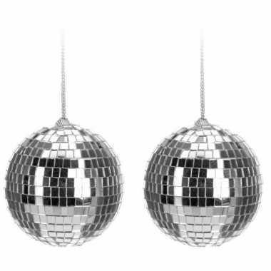 8x kerstboom decoratie discobal kerstballen zilver 6 cm