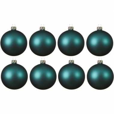 8x turkoois blauwe kerstballen 10 cm matte glas kerstversiering