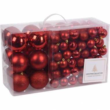 94-delige kerstboomversiering kunststof kerstballen set rood